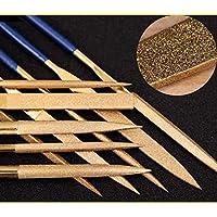 Juego de archivos de aguja de diamante revestido de titanio de 10 piezas para trasdos de guitarra Madera y plástico de metal blando (140 mm, Glod)