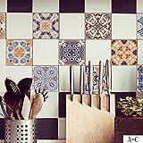 Wandaufkleber Yesmile, 5PCS Vintage Fliesenaufkleber für Küche und Bad Verschiedene Mosaik Wandfliesen Aufkleber für Fliesen Deko für Küche 100cmx20cm (Mehrfarbig)