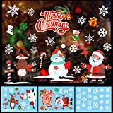 HOWAF NoëL Autocollants fenêtre PVC Stickers vitrine noel Muraux Fenetre Décoration Amovible De Noël Autocollants DéCalcomanie Père Noël wapiti Flocon De Neige Blanche Stickers deco noël
