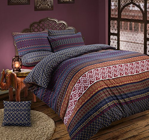 Velosso Aztec Indian/Ethnic Multi Reversible Bedding Set Duvet Cover Set with Pillowcase (s) (Double)