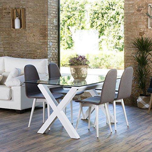 Gauss Base Table À Manger Blanche - Bois - 130x67x73 cm - Couleur Blanc Winter