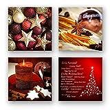 Weihnachten Set A schwebend, 4-teiliges Bilder-Set jedes Teil 29x29cm, Seidenmatte Optik auf Forex, moderne Optik, UV-stabil, wasserfest, Kunstdruck für Büro, Wohnzimmer, XXL Deko Bild