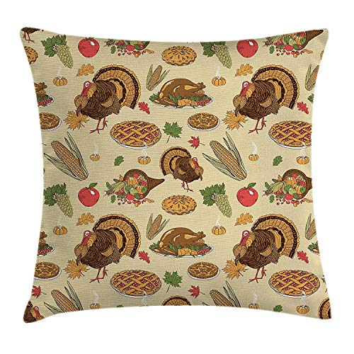 Thanksgiving Throw Pillow Cushion Cover, Special Day Family Dinner Classical Delicious Meal Abundance Harvest, Decorative Square Accent Pillow Case, 18 X 18 inches, Orange Brown Green