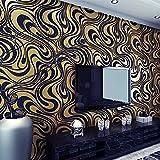 Modern Abstrakt Mustertapete Hanmero Wallpaper Vliestapete Curve 3d-Tapete Wandbild Beflockung 5 Farben Tapete 0,7m*8,4m (Gelb)