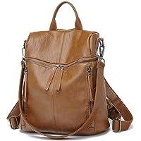 Zaino Donna in Cuoio Morbido - Daypack Scuola Casual 2 in 1 come Zaino e Tracolla, Backpack Vintage Multipocket Leggeri…