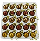Christmas Concepts Confezione da 25-25mm Mini Baubles per albero di Natale - Baubles decorati lucidi, opachi e glitterati (Mocha)