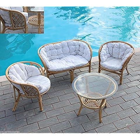 Juego de jardín salottino mod. Delia de sofá rattan p. 2 y 2 sillas mesa