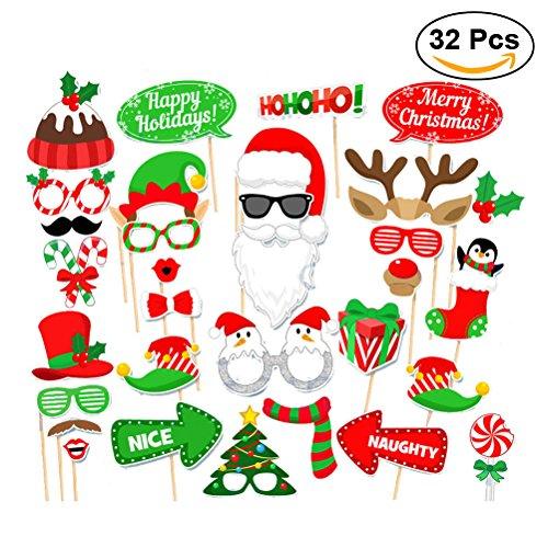 Tinksky Weihnachtsfest-Foto-Stand-Stützen kreative Foto-Stützen Glückliche Weihnachtspose-Zeichen-Installationssatz für Partei-Dekoration 32pcs / set