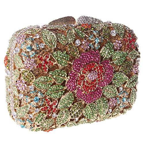Damen Clutch Abendtasche Handtasche Geldbörse Glitzertasche Strass Kristall Edel Tasche mit wechselbare Trageketten von Santimon(7 Kolorit) Grün
