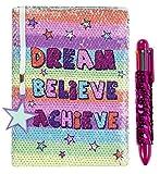 FRINGOO Carnet de notes avec sequins réversibles à motif de licorne, agenda avec stylo multicolore à sequins, pour filles et garçons, format A5avec marque-page, 80pages Dream Believe Achieve