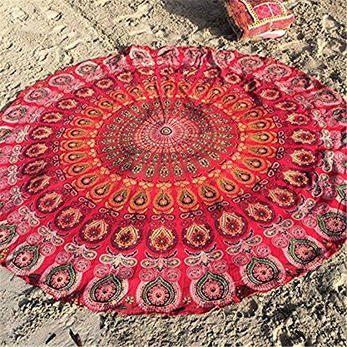 CULASIGN Strandtuch Runder Yogamatte, Indisches Mandala Hippie-Stil Sunscreen Tuch/Wandteppich Tischdecke Schal Strand Freizeit Picknick Dekorativer Wandbehang 150cm (1#) -