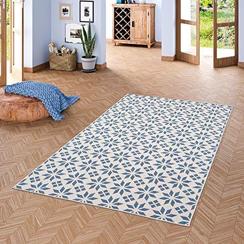 Pergamon In- und Outdoor Teppich Beidseitig Flachgewebe Newport Fliesenoptik Blau Creme in 5 Größen - Blauer Teppich Outdoor Teppiche