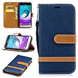 Samsung Galaxy J3 (2016) J320F Case,BONROY® Samsung Galaxy J3 (2016) J320F (Denim Textures) PU Leather Phone Holster Case, Flip Folio Book Case, Wallet Cover with Stand Function, Card Slots Money Pouch Protective Leather Wallet Case for Samsung Galaxy J3 (2016) J320F