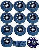 10 INOX Fächerscheiben Ø 125 mm x 22,23 mm Korn 120 Schleifscheiben Schleifmoppteller Edelstahl, blau