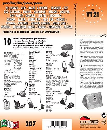VT 21 Sacs d'aspirateur-Lot de 10 sacs