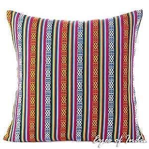 Eyes of India - bunt Dhurrie Dekorative Sofa Kissenbezug Überwurf Boho unkonventionell Indisch - Multi, Multi, 16 X 16 in. (40 X 40 cm)