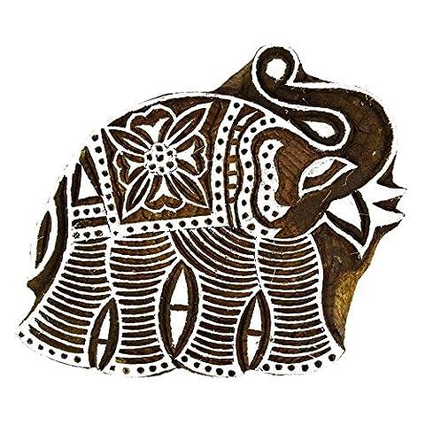 Sculpté à la main Elephant Stamp Bloquer Art de blocs en bois Imprimer Impression Textile Bloquer
