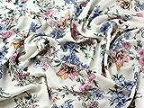 Floral Print Viskose Challis Kleid Stoff Meterware, blau &