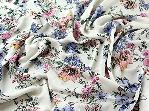 Floral Print Viskose Challis Kleid Stoff Meterware, blau & pink–Elfenbeinfarben