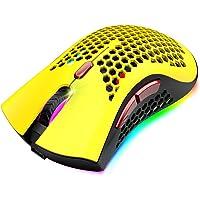 Mouse da gioco wireless ricaricabile a 2,4 GHz, design a conchiglia a nido d'ape leggero da 93 g, 5 effetti…