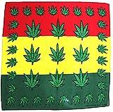Feuille de chanvre Logo 420Marijuana Weed Bandana rouge or vert Jamaïque neuf