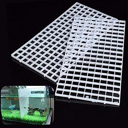 BraveWind 2 Pcs White Grid Divider Tray Egg Crate Aquarium Fish Tank Filter Bottom Isolation Board Pane 1
