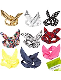 Bundle Monster - Filles foulard pour cheveux mode style oreille de lapin à armatures à nouer (lot de 9 - assortiment)