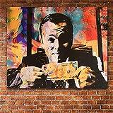 Rjjwai Moderne Dekoration Leinwand Malerei Vintage Poster Leinwanddruck Wolf Von Wall Street Geld Gespräche Wandkunst Bilder Für Wohnzimmer Schlafzimmer 40x60cm
