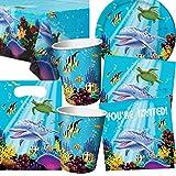101-teiliges * OCEAN PARTY * SET für Geburtstag und Motto-Party mit bis zu 8 Gästen: Teller, Becher, Servietten, Einladungen, Tischdecke, Partytüten, Luftschlangen, Luftballons, u.v.m. // Mottoparty Kinder Ozean Meer Delfin Clownfisch Korallenriff Koralle Schildkröte