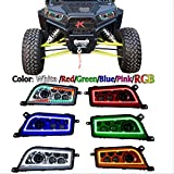 ZHUOYUE 2Pcsrgb Halo Ring Bluetooth H4 Telecomando Per 2015-2016 Polaris RZR 900/1000 S XP Turbo LED Faro Lampade Di Ricambio,Chrome,RGB