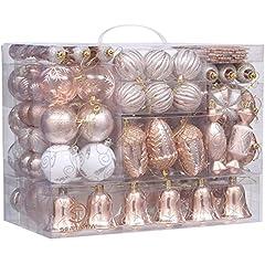 Idea Regalo - Sea Team, 155 palline assortite infrangibili di Natale, set palline decorative pendenti con confezione regalo portatile e riutilizzabile, per l'albero di Natale Art déco Copper