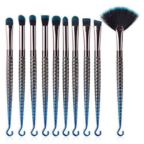 Dilla Beauty 10 Pcs Pinceaux de maquillage coloré Ensemble Crochet forme Sirène Synthétique Kabuki Fondation Sourcils Eyeliner Blush Cosmétique Concealer Brosses Kit (Bleu)