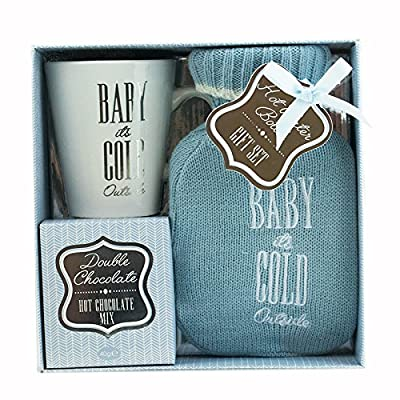 Baby It's Cold Outside Mug With Hot Chocolate and a Cosy Hot water Bottle With Cover