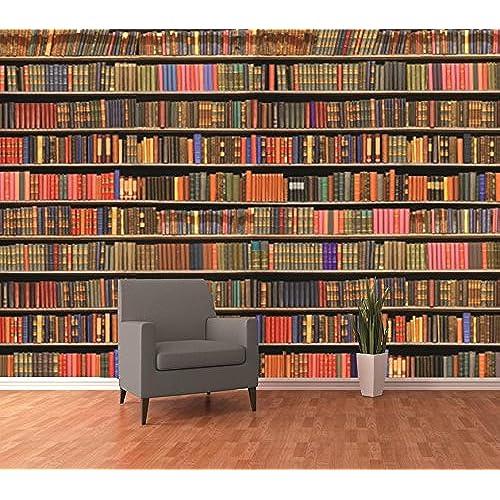 1 Wall Colourful Library Bookshelf Wallpaper Mural Wood Multi Colour 315 X 232 M