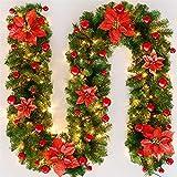 TopHGC Ghirlanda di Natale, 2.7M Caminetti Scale Ghirlande Decorate Luci a LED Ornamento Corona di Natale per la Decorazione Domestica (Rosso)