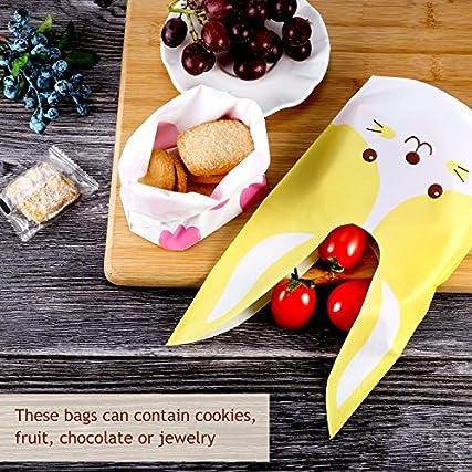 Yosemy Sacchetti Compleanno, Sacchetto per Caramella Confetti Borsa di Regalo Sacchetto Coniglietto di Forma del Coniglio Sacchetti di Biscotto (60pcs) (50pcs)