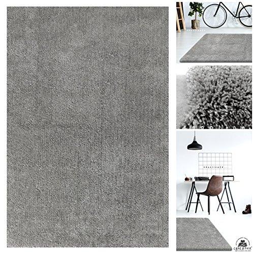 Handgefertigter Extrem Weicher Handtuft Teppich Einfarbig in Silber Grau | Hochwertige Oeko-Tex Teppiche geeignet auch als Kinderteppiche und Babyteppiche | Flauschiger Uni Hochflor Shaggy Läufer, Größe:200x290 cm