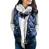 Women Fashion Winter Slim Vests Warm Parka Trench Coat Sleeveless Jacket Vest Warm Zipper Waistcoat Coat Windproof Winter Jac