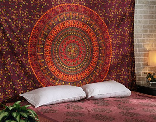Tapiz Pared, Tapices Mandala Hippie, Colgar en la Pared Boho Bohemio, Tapiz Indio Toalla de Palya Camel Tapestry Red Wall Hanging By Rajrang