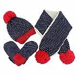 Cozywind 3 piezas Set de bufanda gorro y guantes Sombrero Bufanda Guante Conjunto de Invierno Niño Niña (3pcs, 3pcs-dark blue)