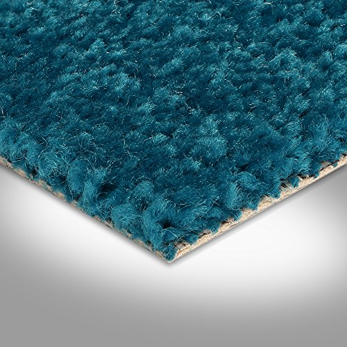 BODENMEISTER BM72182 Teppichboden Auslegware Meterware Hochflor Shaggy Langflor Velour türkis blau 400 cm und 500 cm breit, verschiedene Längen, Variante: 5 x 5 m