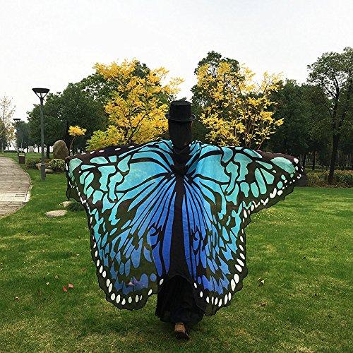 Beautyrain Weiches Gewebe Schmetterlingsflügel Schal Kostüm Festival Zubehör Cape Fairy Damen Nymphe Pixie bunt 197x125cm (Weichen Schmetterlingsflügel Kostüm)