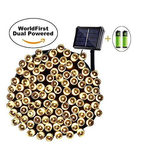 Qedertek Solar Lichterkette - Solar oder Batterie betrieben, 22m, 200er LED,8 Modi, Wasserdichte Außenlichterkette mit Lichtsensor, Dekobeleuchtung für Party und Weihnachten (Warmweiβ)