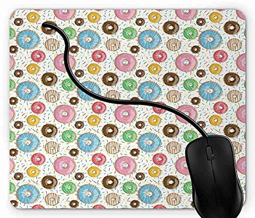 Pad Sahne (Mauspad Leckere Schokolade und Sahne glasierte Donuts mit Streuseln Delicious Bakery Rutschfeste Gummi Basis Mouse pad, Gaming mauspad für Laptop, Computer 1X272)