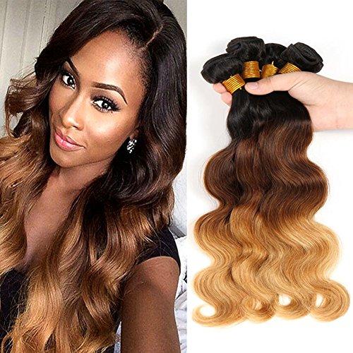 Moresoo 3 Bundles 300gram Body Wave Tissage Cheveux Humain Weaving Extensions Ombre Color #1B/4/27 Human Hair Brésiliens Vierges 100% Remy Humains Tissage (16+18+20pouces/40cm+45cm+50cm)