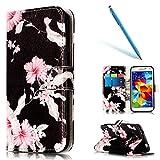 CLTPY Lederhülle für Samsung Galaxy S5, Folio Brieftasche Abdeckung Standfunktion & Karteneinschub & Magnetverschluß für Samsung Galaxy S5/G900F + 1 x Freier Stift - Azalee