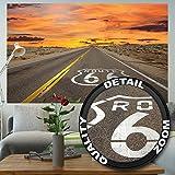 Fototapete Route 66 Wandbild Dekoration USA Landschaft Travel Highway Panorama Sonnenuntergang Amerika Wanddekoration | Foto-Tapete Wandtapete Fotoposter Wanddeko by GREAT ART (210 x 140 cm)
