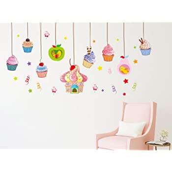 Solimo Wall Sticker for Living Room (Cupcake Mania, Ideal Size on Wall, 200 cm x 80 cm)