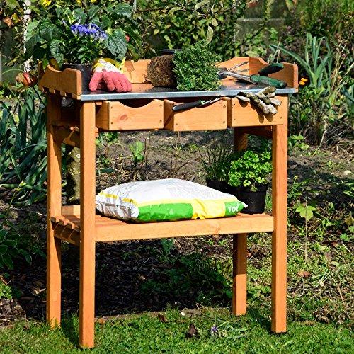 Gartenpirat Pflanztisch aus Holz mit Schubladen und Abstellfläche