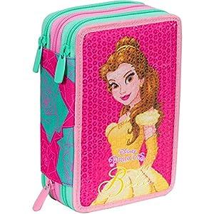 Seven – Princesas Disney – Estuche para colores de La Bella y la Bestia, lleno, con 3 cremalleras, 2017/18